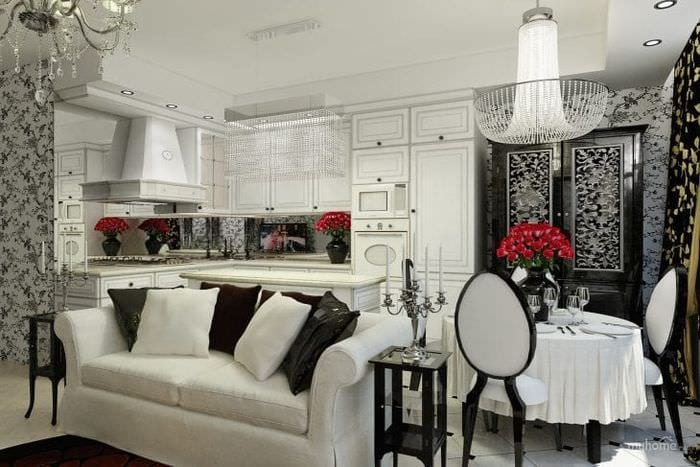 светлый дизайн квартиры в стиле арт деко