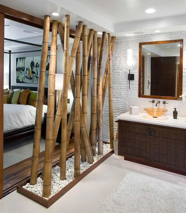 жалюзи с бамбуком в стиле кухни