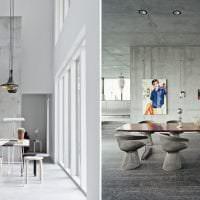 стиль потолка с раствором бетона на кухне картинка