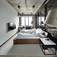 интерьер потолка с бетоном в спальне фото
