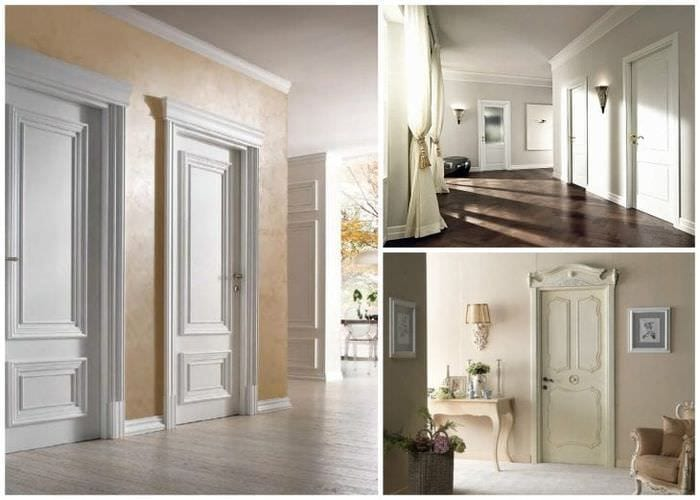 светлые двери в стиле с оттенком алого