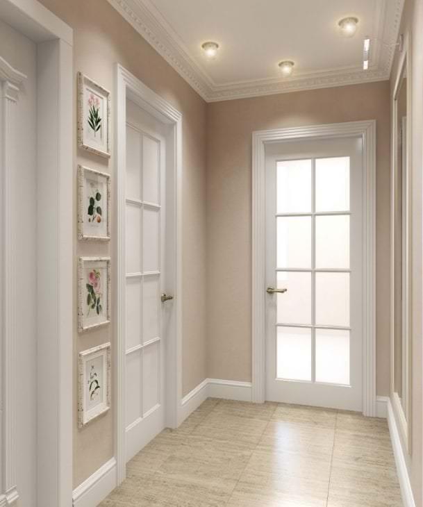Дизайн прихожей с белыми дверями