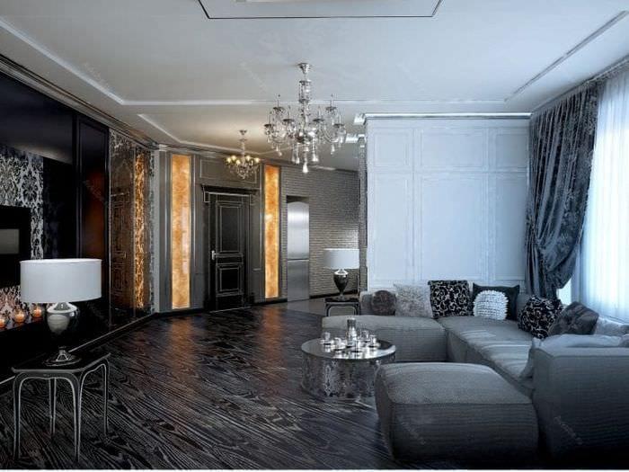 светлый ар деко стиль коридора