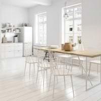 светлый белый дуб в интерьере гостиной картинка