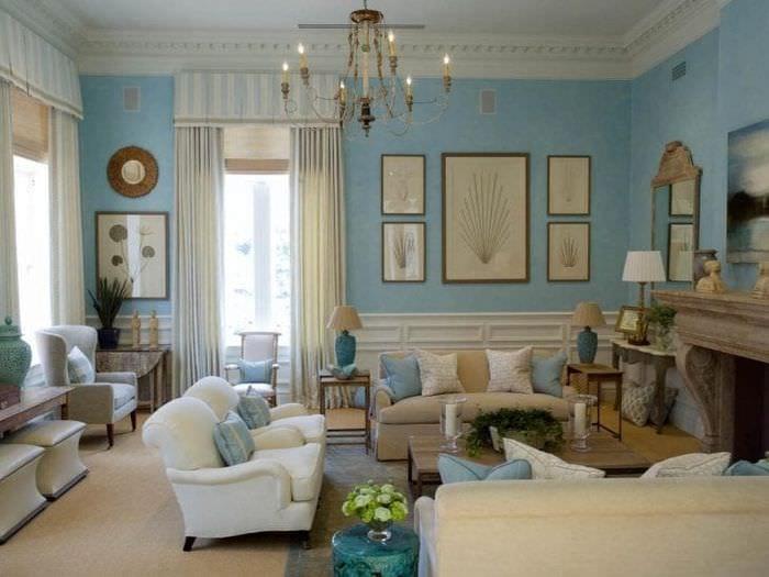 светлый стиль гостиной в английском стиле