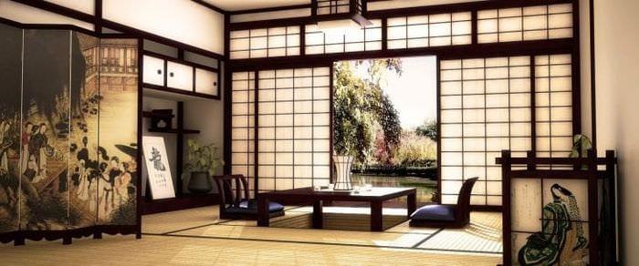 красивый дизайн коридора в японском стиле