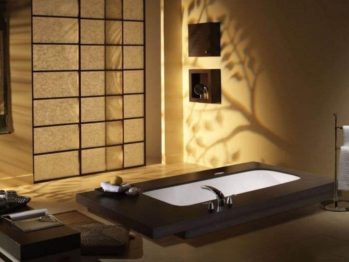 яркий интерьере прихожей в японском стиле