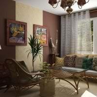 красивый интерьере гостиной в этническом стиле картинка