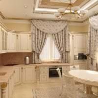 светлый интерьер бежевой кухни в стиле прованс картинка