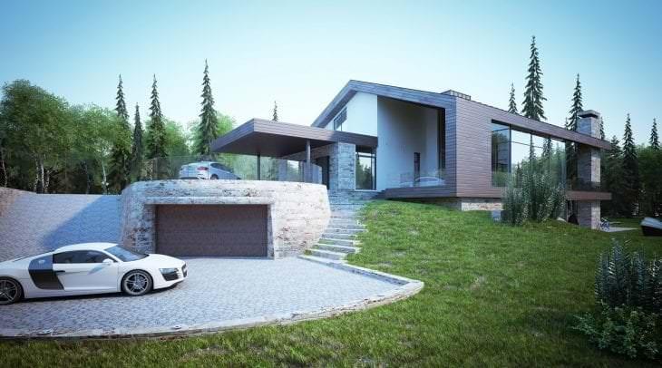 красивый интерьер загородного дома в архитектурном стиле