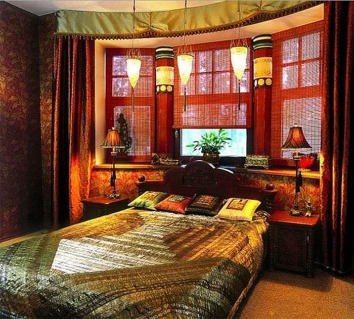 светлый дизайн гостиной в этническом стиле