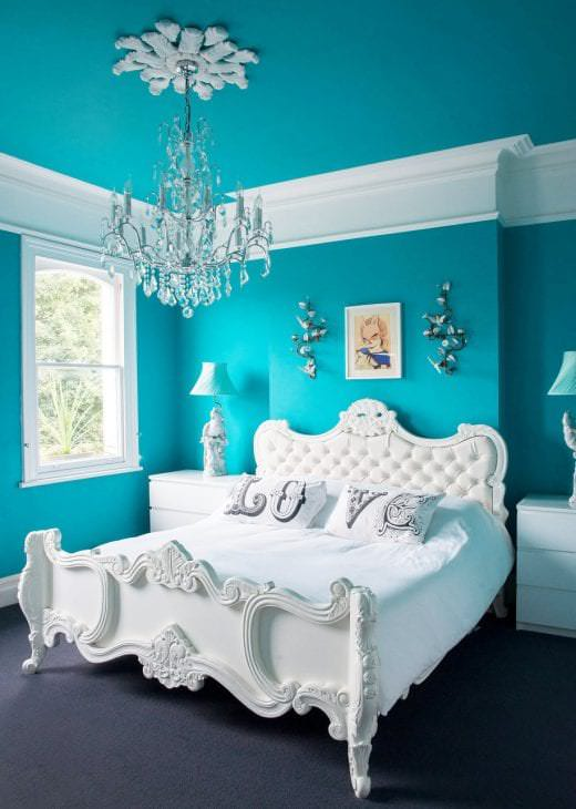 красивый стиль квартиры в бирюзовом цвете