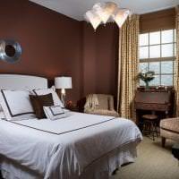 светлый декор спальни в шоколадном цвете картинка