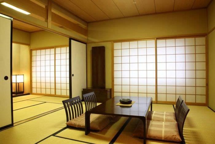 светлый стиль гостиной в японском стиле
