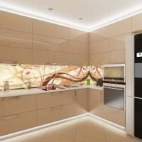 яркий интерьер бежевой кухни в стиле хай тек фото