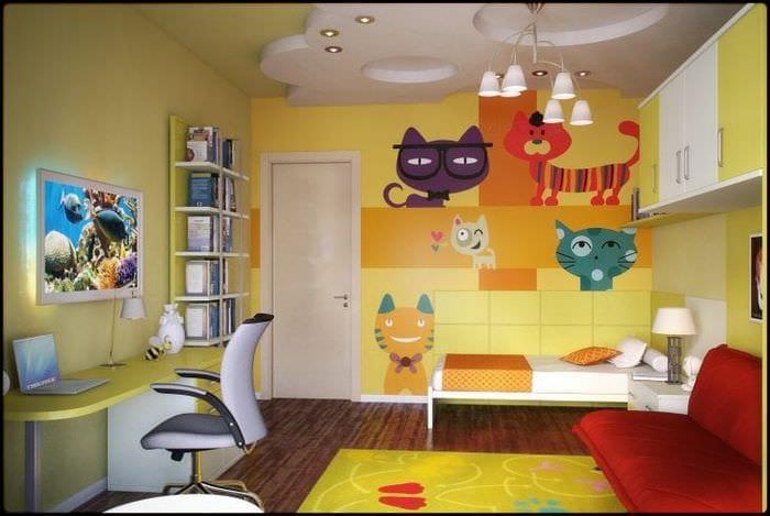 светлый интерьер гостинной в различных цветах