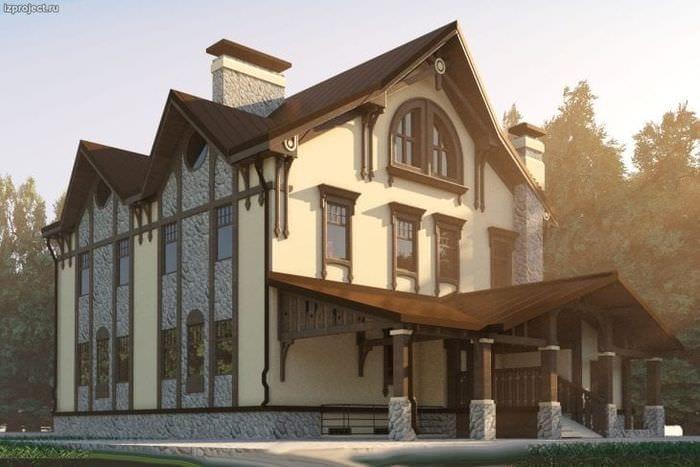светлый дизайн дома в архитектурном стиле