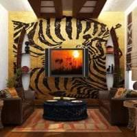 светлый интерьере гостиной в этническом стиле картинка
