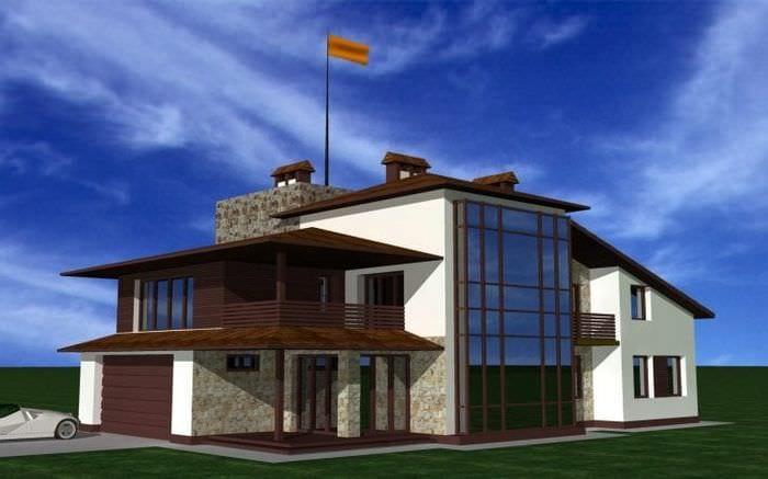 яркий декор загородного дома в архитектурном стиле