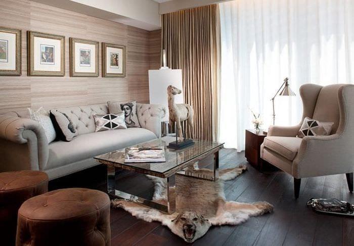 красивый дизайн гостиной в английском стиле
