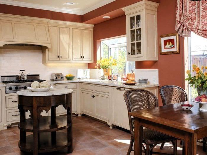 Интерьеры кухонь с терракотовым цветом