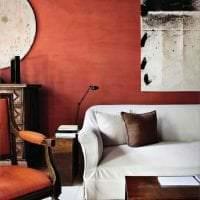 приятный терракотовый цвет в стиле гостиной картинка