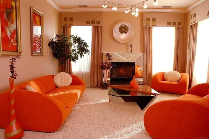 Дизайн гостиной оранжевого цвета