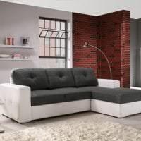 кожаный угловой диван в дизайне квартиры картинка