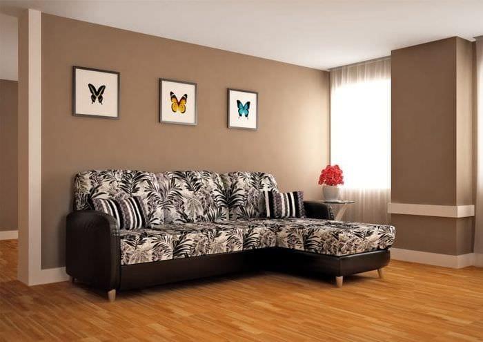 кожаный угловой диван в дизайне квартиры