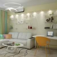 светлый угловой диван в интерьере спальни фото