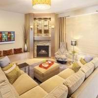 красивый угловой диван в дизайне квартиры картинка