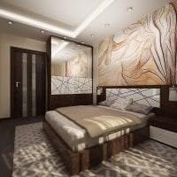 темные двери в дизайне спальни из красного дерева фото