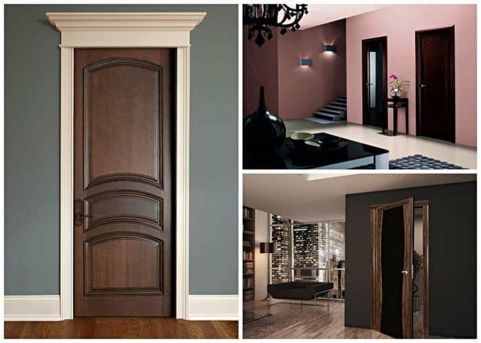 темные двери в стиле спальни из сосны