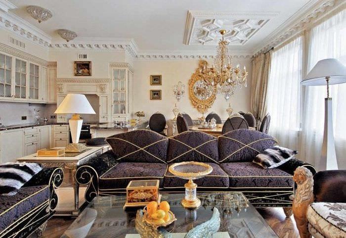 необычный интерьер гостиной в стиле эклектика