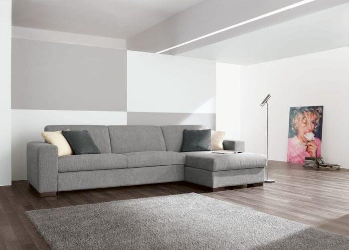 кожаный угловой диван в дизайне гостиной