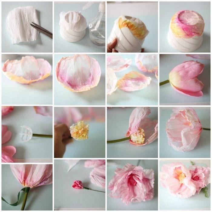 Цветы из гофрированной бумаги мастер класс фото