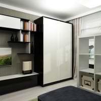 маленький шкаф купе в интерьере спальни картинка