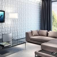 яркая алюминевая 3д панель в комнате фото