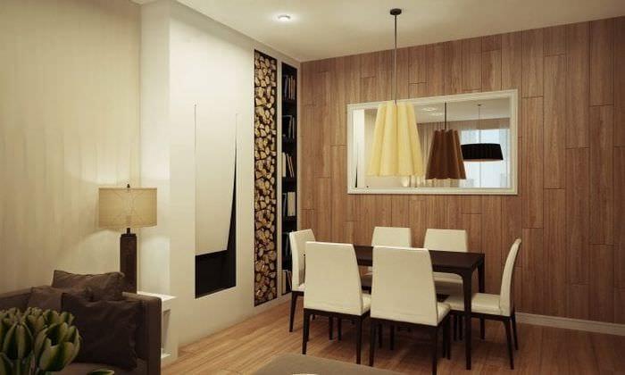 светлая мдф 3д панель в гостиной