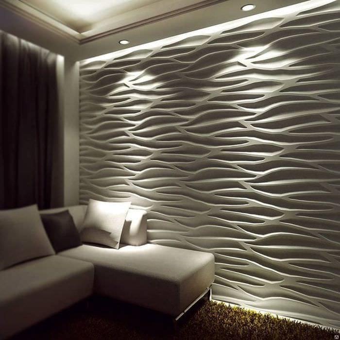 светлая мдф 3д панель в комнате