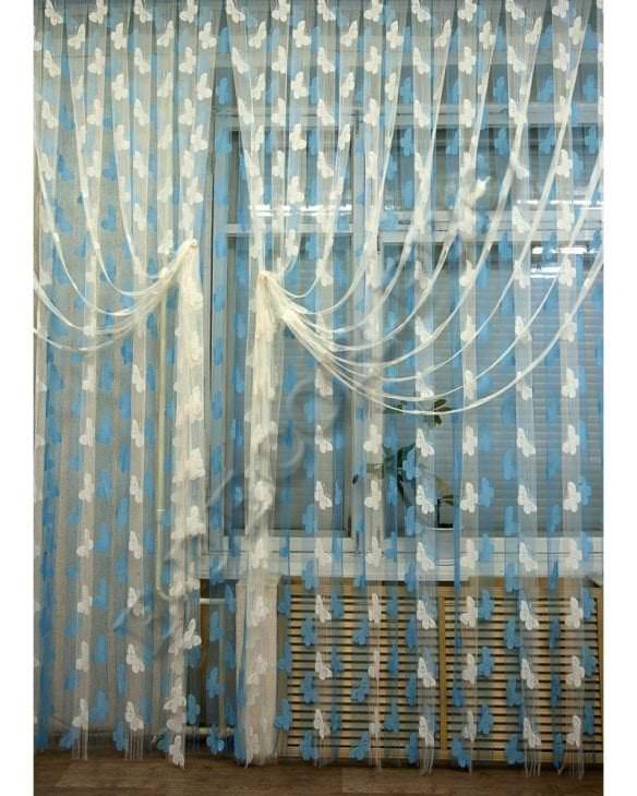 необычные шторы нити в дизайне спальни
