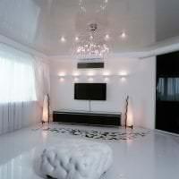 красивый белый пол в дизайне кухни картинка