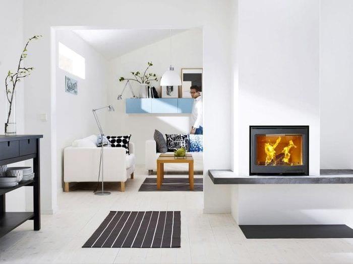 красивый белый пол в интерьере спальни