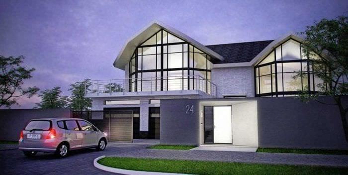 красивый стиль загородного дома в архитектурном стиле