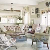 светлый декор спальни в стиле шебби шик фото