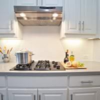 яркий стиль белой кухни с оттенком зеленого картинка