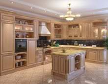 красивый интерьер бежевой кухни в стиле кантри фото