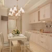 красивый интерьер бежевой кухни в стиле прованс фото