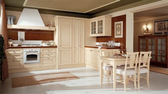 красивый дизайн бежевой кухни в стиле прованс