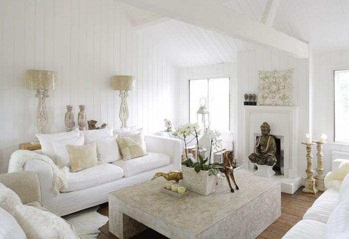 светлый интерьер спальни в белом цвете
